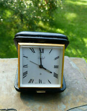 Vintage Imhof 15j 8- Day Leather Cased Wind-Up Travel Alarm  Clock It Runs!