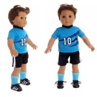 Handmade Doll Clothes Doll Blue Sportswear For 18 Boy Doll Inch Girl B1T1