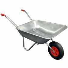 More details for heavy duty wheelbarrow 65l litre galvanised steel outdoor wheel barrow pneumatic