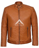 Men's Cognac Biker Bomber Casual Blouson Real Napa Leather Jacket 1829-B