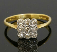 Vintage 18ct Art Deco Yellow Gold Diamond .25ct Square Cluster Ring (Size M 1/2)