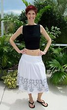 NEW White Skirt with Black Embroidered Detail ~Willi Smith~4~Cotton~Lined~NWOT