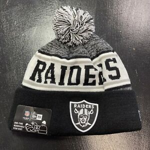 NEW Oakland Raiders Beanie Hat Men's One Size Fits Most NFL Football Pom Adult