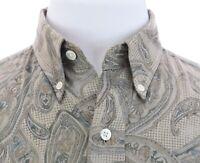 Chaps Ralph Lauren Mens Paisley Print Button Down Shirt Long Sleeve Beige Sz S