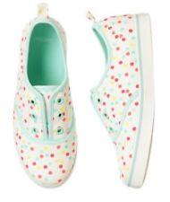 Gymboree Hello Happy 10 12 White Confetti Tennis Shoes Slip On Blue Polka Dot