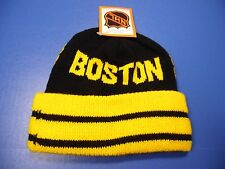 Vtg NWT  Boston Bruins NHL Black & Yellow Winter Hat Cap Old School Made in USA