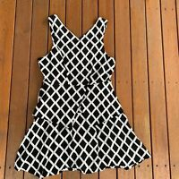 Oxford Size 12 Fit & Flare Sleeveless Check Black & White Business Cocktail