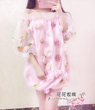2017 Spring Sweet Japanese Mori Girl Rose Three Quarter Sleeve Lace Dress