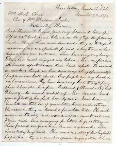 1877 Letter from Grass Valley, California Describing Area, Gold Mining, Railroad