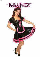 Misfitz blk pvc/hot pink satin sissy maids dress sizes 8-32 or made to measure