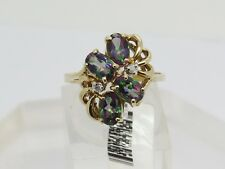NWT 10k Yellow Gold Oval Mystic Fire Topaz Diamond Accent Cluster Ring Size 7