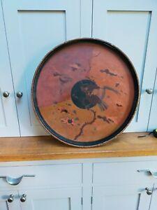 Vintage circular Chinoiserie lacquerware tray / table top 60cm / 2' diameter
