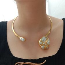 Yellow Gold Plated Choker Necklace White Keshi Pearl 24 K