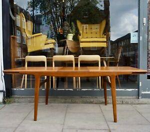 Vintage 1960s Arne Hovmand-Olsen Danish Teak rectangular extendable dining table