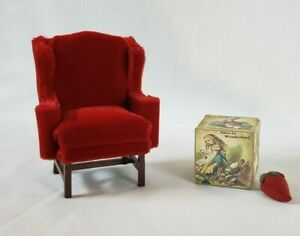 Dollhouse 1:12 Miniature Chippendale Wing Chair: Ruby Red Plush Cut Velvet