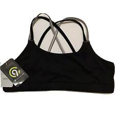 C9 Champion Girls Pullover Sports Bra Cris Cross Back Black White Stretch XL