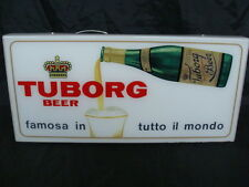 INSEGNA BIRRA TUBORG OLD SIGN BEER ANNI 50 TARGA LUMINOSA EPOCA VINTAGE