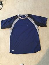 Nike Dri Fit Navy Blue/Gray Short Sleeve Shirt Size M