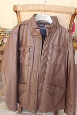 Tommy Hilfiger Men's Brown Leather Finish Jacket Large with pop-out Hoodie