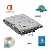 500GB Windows 7 64-bit Office 2013 * Desktop Computer Hard Drive Plug&Play