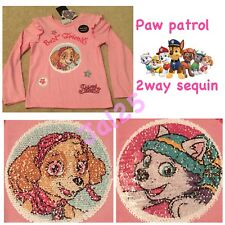 5-6 Paw Patrol Primark Sequin 2 Way Brush Everest Sky Pink T-shirt Top New