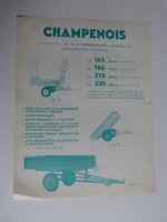 prospectus catalogue :  remorques agricole motoculteur CHAMPENOIS a chamouilley
