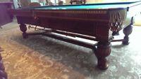 Antique Elizabethan Brunswick 1927 Billiard Table, 5.5' x 9', Walnut finish