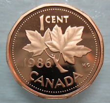 1986 CANADA 1 CENT PROOF PENNY COIN