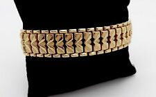 ESTATE ITALIAN HEAVY WIDE 18K SOLID GOLD WINGPOINT BRACELET,7 3/8""
