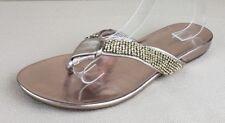 Nine West Rose Gold Embellished Thong Sandal Slip On Shoe Sparkles Women's 10 M
