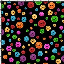 Dots Fabric - Small Button Toss on Black - Loralie Designs YARD