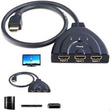 1080P 3 Port HDMI Splitter Cable Multi Switch Switcher HUB Box TV LCD HDTV 3D UK