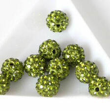 20pcs 8mm Olive Green Alloy Ball Crystal Rhinestones Round Loose Spacer Beads