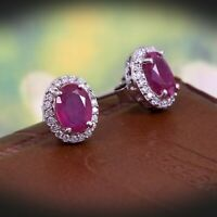 Natural Pink Ruby Halo Earrings Stud 925 Sterling Silver Dainty Boho Gift Her