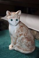 ELPA  ALCOBACA Portugal Orange And White Sitting Cat Green Glass Eyes 10 1/2""