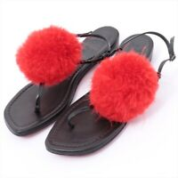 Christian Louboutin Fur x Leather Sandals 38 Ladies Red x Black