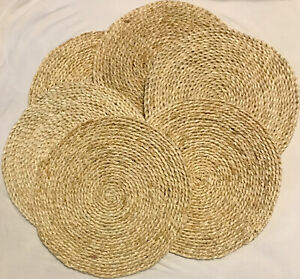 """Corn Husk Woven Placemats Set Natural Braided Table Mats Set Of 6, Round 12.5"""""""