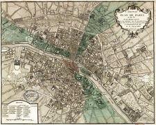 PARIS MAP - Plan de Paris by Vintage Reproduction ART PRINT France Poster 60x48