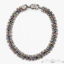 Antique Vintage Deco Sterling Silver Enamel Ethnic Child's Baby Estate Necklace!