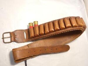 "Vintage Size 36"" Shotgun 12 Gauge Shell Shotshell Ammo Belt HOLDS 25 SHELLS!"