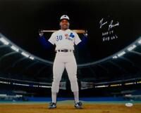 Tim Raines Autographed Expos 16x20 On Field w/ Inscriptions  Photo- JSA W Auth
