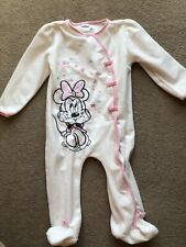 Baby Girls Disney Minnie Mouse Velour Babygrow Sleepsuit Size 9-12 Months