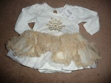 NEW NWT Childrens Place girls 3-6 months gold snowflake tutu dress Beautiful!!
