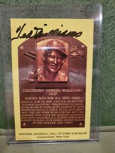 Signed Ted Williams Autographed Hall of Fame HOF Gold Plaque Postcard
