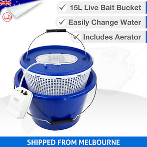 15L 3in1 LIVE BAIT BUCKET & Free Aerator Pump - 120+ hrs run time - 2 speed