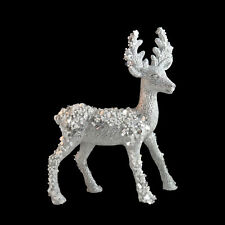 Silver Glitter Standing Reindeer Stag Christmas Decoration - 21cm