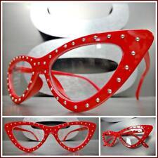 Classy Elegant 50's RETRO Cat Eye Style Clear Lens EYE GLASSES Red Studded Frame