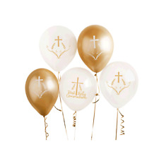 First Holy Communion Cross & Plants Gold and White Religious Latex Balloons 6pk