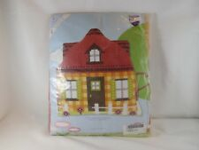 Vervaco Stamped Cross Stitch Pillow Kit - New - Yellow House