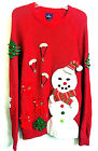 UGLY Christmas Red Sweater Size L/G -  3D Snowman Deer Tree Ginger Bread Bells